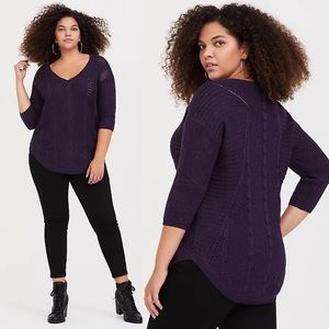 Torrid Purple Pointelle Tunic Sweater Sz 2X